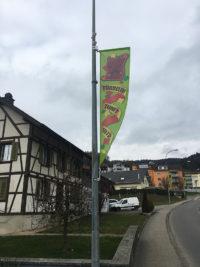 Fasnachtsbeflaggung für die Törbeler Zunft durch Art Fahnen AG